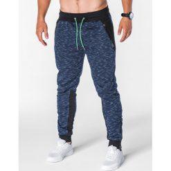 SPODNIE MĘSKIE DRESOWE P640 - GRANATOWE. Niebieskie spodnie dresowe męskie Ombre Clothing, z bawełny. Za 49,00 zł.