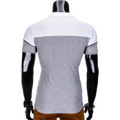 KOSZULKA MĘSKA POLO BEZ NADRUKU S832 - SZARA. Zielone koszulki polo marki Ombre Clothing, na zimę, m, z bawełny, z kapturem. Za 29,00 zł.