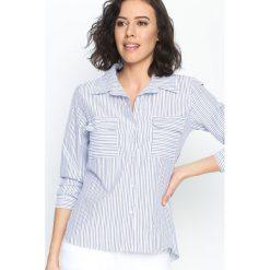 Granatowa Koszula Classic Stripes. Szare koszule damskie marki Born2be, s, w paski, klasyczne, z klasycznym kołnierzykiem. Za 39,99 zł.