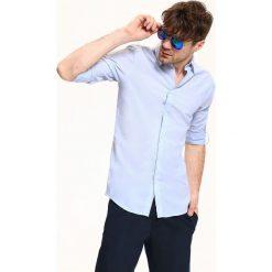 KOSZULA DŁUGI RĘKAW MĘSKA SLIM FIT. Szare koszule męskie slim marki Top Secret, m, z klasycznym kołnierzykiem, z długim rękawem. Za 34,99 zł.