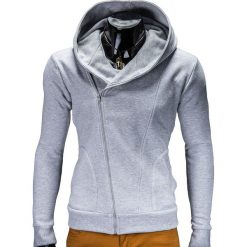 Bluzy męskie: BLUZA MĘSKA ROZPINANA Z KAPTUREM PRIMO – SZARA
