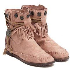 Botki w kolorze jasnoróżowym. Czerwone buty zimowe damskie Carla Samuel, na zimę. W wyprzedaży za 149,95 zł.