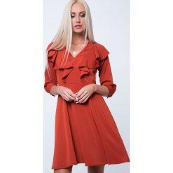 Sukienki: Sukienka z falbanami ruda MP60264