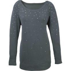 Sweter bonprix antracytowy. Niebieskie swetry oversize damskie marki bonprix, z nadrukiem. Za 89,99 zł.