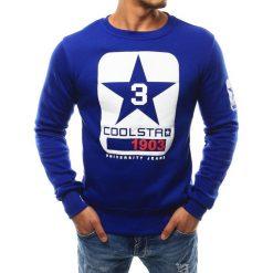 Bluzy męskie: Bluza męska bez kaptura z nadrukiem niebieska (bx2411)