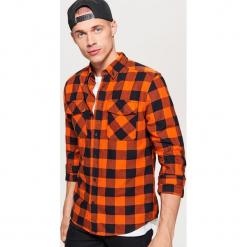 Koszula w kratę - Pomarańczowy. Brązowe koszule męskie marki Reserved, m, z bawełny. Za 79,99 zł.