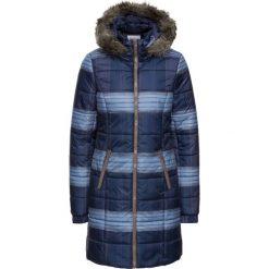 Płaszcze damskie pastelowe: Krótki płaszcz pikowany z nadrukiem bonprix ciemnoniebieski w kratę