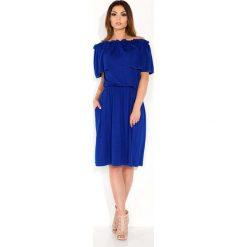Sukienki: Chabrowa Sukienka Midi z Hiszpańskim Dekoltem
