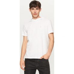 T-shirty męskie: T-shirt z kapturem – Kremowy