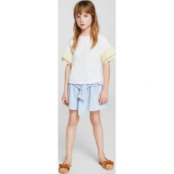 Mango Kids - Top dziecięcy Dai 110-164 cm. Szare bluzki dziewczęce marki bonprix, m, melanż, z dzianiny, z kontrastowym kołnierzykiem. Za 59,90 zł.