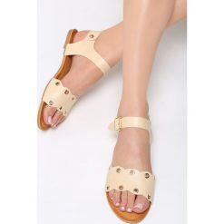 Beżowe Sandały Shame On You. Brązowe sandały damskie marki Born2be, z materiału, na obcasie. Za 59,99 zł.