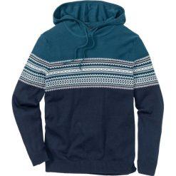 Sweter z kapturem Regular Fit bonprix niebieskozielono-biało-ciemnoniebieski. Czarne swetry klasyczne męskie marki Reserved, m, z kapturem. Za 59,99 zł.