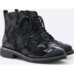 Caprice - Botki. Czarne buty zimowe damskie Caprice, z materiału, na obcasie, na sznurówki. W wyprzedaży za 199,90 zł.
