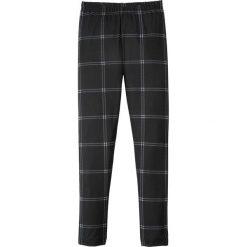 Spodnie dziewczęce: Legginsy z nadrukiem bonprix czarno-biały w kratę
