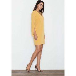 Żółta Sukienka Koktajlowa Mini z Rozciętym Rękawem. Żółte sukienki balowe marki Molly.pl, do pracy, l, mini, wyszczuplające. Za 134,90 zł.