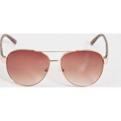 Okulary przeciwsłoneczne - Brązowy. Brązowe okulary przeciwsłoneczne damskie aviatory Sinsay. Za 19,99 zł.