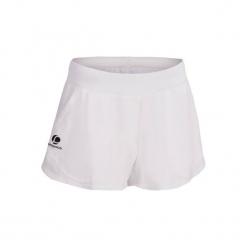 Spodenki tenis Sh Soft 500 damskie. Białe bermudy damskie ARTENGO, z elastanu. W wyprzedaży za 34,99 zł.