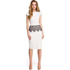 Sukienki: Ecru Dopasowana Wizytowa Sukienka z Koronką