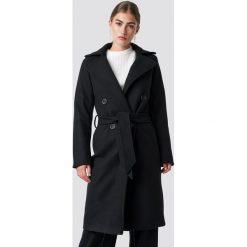 Rut&Circle Długi płaszcz Tove - Black. Czarne płaszcze damskie pastelowe Rut&Circle, w paski. Za 364,95 zł.
