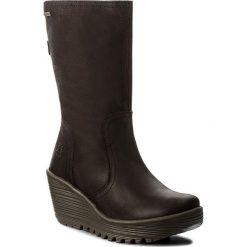 Kozaki FLY LONDON - Yupsfly GORE-TEX P144061001 Dk.Brown. Czarne buty zimowe damskie marki Kazar, ze skóry, przed kolano, na wysokim obcasie, na obcasie. W wyprzedaży za 449,00 zł.
