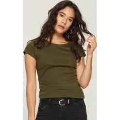 Bawełniany t-shirt basic - Khaki. Brązowe t-shirty damskie marki Sinsay, l, z bawełny. Za 14,99 zł.