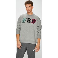 Nike Sportswear - Bluza. Szare bluzy męskie rozpinane Nike Sportswear, l, z aplikacjami, z bawełny, bez kaptura. W wyprzedaży za 259,90 zł.