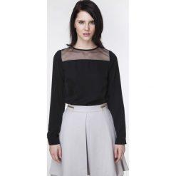 Bluzki damskie: Czarna Bluzka z Długim Rękawem z Transparentnym Karczkiem