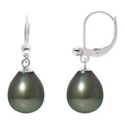 Kolczyki damskie: Srebrne kolczyki-wkrętki z perłami tahiti