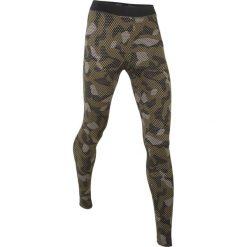 Legginsy sportowe, długie, LEVEL 2 bonprix ciemnooliwkowy wzorzysty. Zielone legginsy damskie do fitnessu bonprix, w paski. Za 59,99 zł.