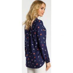 Bluzka w motylki moe341. Niebieskie bluzki longsleeves Moe, s, eleganckie, ze stójką. Za 129,90 zł.