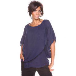 """Bluzki asymetryczne: Lniana koszulka """"Leny"""" w kolorze granatowym"""