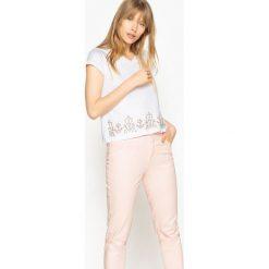 T-shirty damskie: T-shirt z ozdobą, czysta bawełna, krótki rękaw