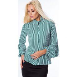 Koszule damskie: Koszula w paski biało-zielone MP26008