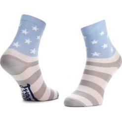 Skarpety Wysokie Dziecięce FREAK FEET - JLUSA-GRB Niebieski Szary. Niebieskie skarpetki męskie marki Freak Feet, w kolorowe wzory, z bawełny. Za 14,99 zł.