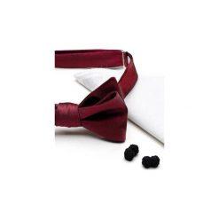 Komplet Mucha wiązana CARMIN +poszetka +spinki do mankietów. Czerwone muchy męskie HisOutfit, z materiału, wizytowe. Za 149,00 zł.