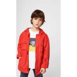 Mango Kids - T-shirt dziecięcy Hund 110-164 cm. Szare t-shirty chłopięce z nadrukiem marki Mango Kids, z bawełny, z okrągłym kołnierzem. W wyprzedaży za 19,90 zł.