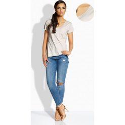 Bluzki damskie: Casualowa bluzka z kieszonką beżowy