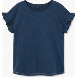 Mango Kids - Top dziecięcy Mix 104-164 cm. Niebieskie bluzki dziewczęce Mango Kids, z bawełny, z okrągłym kołnierzem. W wyprzedaży za 19,90 zł.