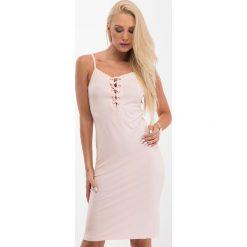 Jasnoróżowa sukienka z wiązaniem na dekolcie 3550. Szare sukienki Fasardi, m. Za 39,00 zł.