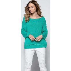Zielony Milutki Sweter z Ażurowymi Wstawkami. Zielone swetry klasyczne damskie Molly.pl, uniwersalny, z jeansu. W wyprzedaży za 83,93 zł.