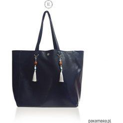 Torba DARK BLUE RODOS - shopper XL ekoskóra. Niebieskie shopper bag damskie Pakamera, duże. Za 189,00 zł.