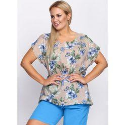 T-shirty damskie: Beżowy T-shirt Buoyant