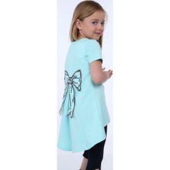 Tunika dziewczęca z kokardą miętowa NDZ8232. Szare sukienki dziewczęce marki Fasardi. Za 39,00 zł.