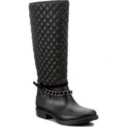 Kalosze GUESS - Ralan FLRAL3 RUB11 BLACK. Czarne buty zimowe damskie marki Guess, z aplikacjami, z materiału. W wyprzedaży za 319,00 zł.