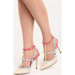 Beżowe Sandały Everybody Run Now!. Brązowe sandały damskie marki Born2be, z lakierowanej skóry, na wysokim obcasie, na obcasie. Za 99,99 zł.