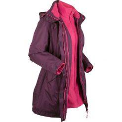 Płaszcz outdoorowy funkcyjny 3 w 1 bonprix czarny bez - jeżynowy. Fioletowe płaszcze damskie pastelowe bonprix, s, z polaru. Za 299,99 zł.