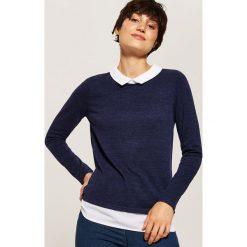 Sweter z koszulą - Granatowy. Niebieskie koszule damskie marki House, l. Za 49,99 zł.