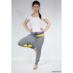 Spodnie dresowe damskie: Spodnie damskie baggy – dres (żółte trójkąty)