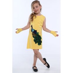 Sukienka dziewczęca z cekinową aplikacją żółta NDZ8558. Żółte sukienki dziewczęce z falbanami Fasardi, z aplikacjami. Za 49,00 zł.