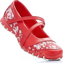 Baleriny damskie lakierowane: Baleriny bonprix czerwony w kwiaty